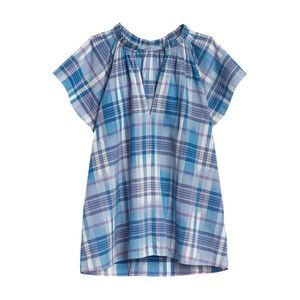 GAP Women Blue Checked A Line Top